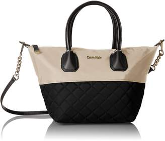Calvin Klein Florence Quilted Nylon Large Top Zip Tote Tote Bag, WHT/BLACK
