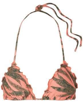 Vix Paula Hermanny Ruffled Printed Triangle Bikini Top