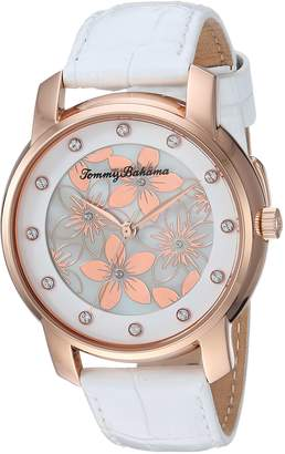 Tommy Bahama Women's Casual Floral Dial and White Crocodile Embossed Leather Strap Watch (Model:TB00027-03)