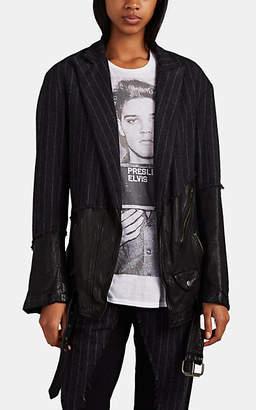 Greg Lauren Women's Mixed-Media Jacket - Charcoal