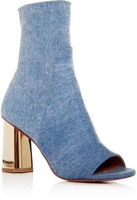Robert Clergerie Women's Zoots Stretch Denim High-Heel Booties