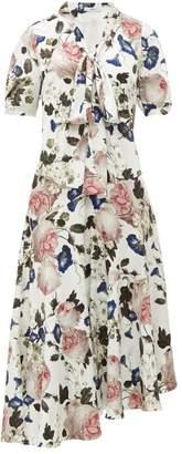 Erdem Jayla Crepe De Chine Midi Dress - Womens - White Print