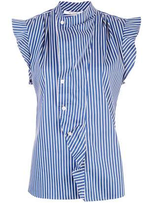 Derek Lam 10 Crosby Short Sleeve Striped Draped Blouse with Asymmetrical Placket