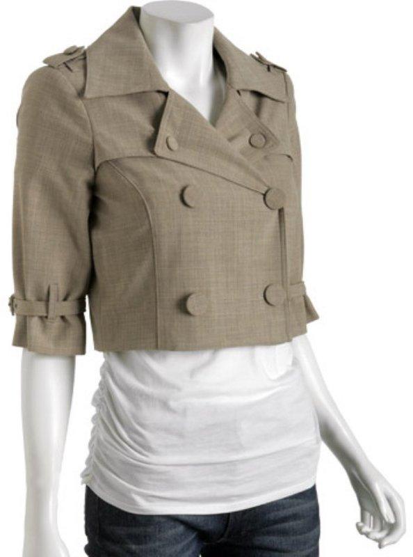A.B.S. by Allen Schwartz wheat gabardine double breasted cropped jacket