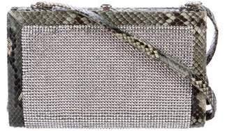 Judith Leiber Snakeskin-Trimmed Crystal Shoulder Bag