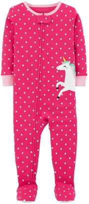 Carter's Baby Girl Polka-Dot Unicorn Footed Pajamas
