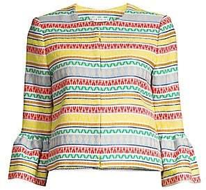 Alice + Olivia Women's Kidman Printed Stripe Ruffle Cuff Jacket