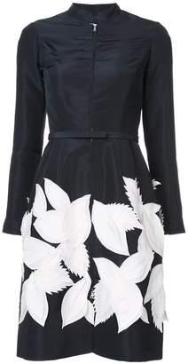 Oscar de la Renta contrast leaf applique dress