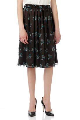 Aylesbury (アリスバーリー) - チュールカラー刺繍スカート ピーコックグリーン