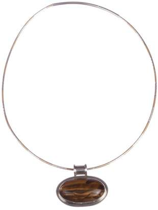 Sterling Silver and Orange Tiger Eye Cabochon Necklace