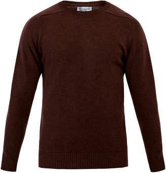 Johnstons of Elgin Crew-Neck Bitter Chocolate Merino Cashmere Sweater