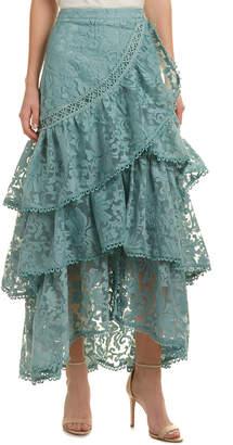 Champagne & Strawberry Lace Midi Skirt