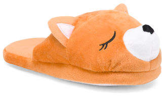 Plush Slippers With Animal Face