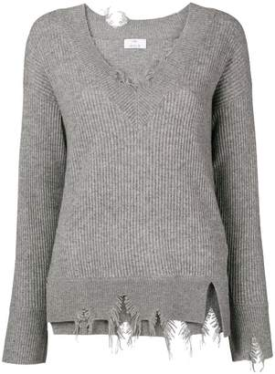 Allude V-neck distressed jumper