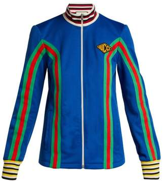 Gucci Logo Embellished Stretch Cotton Track Jacket - Womens - Blue Multi
