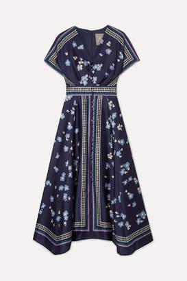 Lela Rose Printed Satin-twill Midi Dress - Navy
