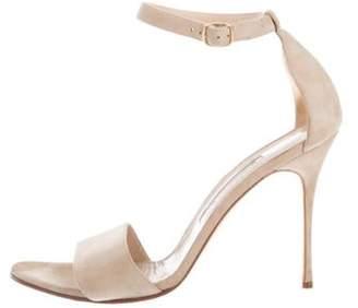 Manolo Blahnik Suede Strap Sandals Tan Suede Strap Sandals