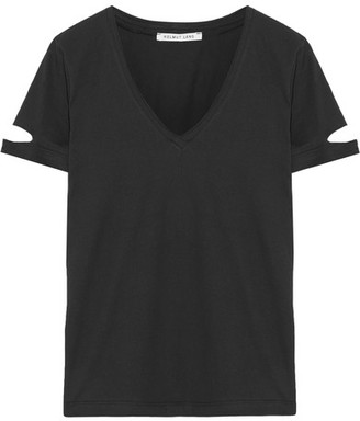 Helmut Lang - Cutout Cotton-jersey T-shirt - Black $140 thestylecure.com