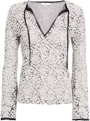 Nightcap Clothing Lace Knit Tie Front Top