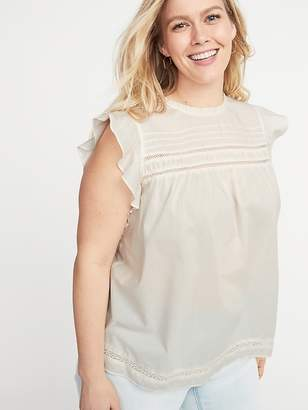 Old Navy Ruffled Crochet-Lace Trim Plus-Size Top
