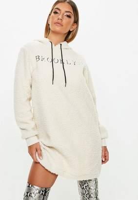 Missguided Cream Borg Brooklyn Graphic Sweater Dress