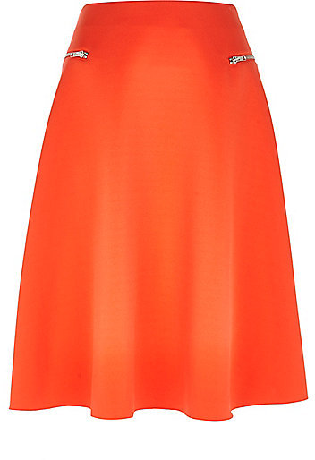 River Island Womens Orange zip pocket midi skirt