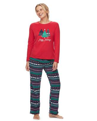 550a92eefb Women s Jammies For Your Families Happy Holidays Family Pajamas Top    Microfleece Bottoms Set
