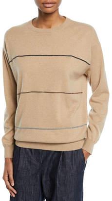 Brunello Cucinelli Crewneck Long-Sleeve Horizontal-Striped Cashmere Sweater