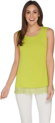 Joan Rivers Classics Collection Joan Rivers Jersey Knit Tank with Lace Crochet Trim