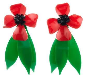 Oscar de la Renta Daisy Flower Drop Clip On Earrings