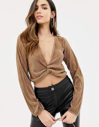 Asos DESIGN wrap top with plunge twist front in plisse with long sleeve