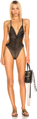 Norma Kamali Butterfly Mio Swimsuit in Black Mesh | FWRD