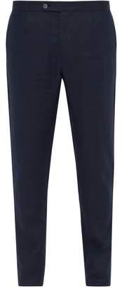 P. johnson P. Johnson - Straight Leg Linen Trousers - Mens - Navy