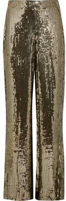 Alice + Olivia Alice Olivia - Racquel Sequined Satin Wide-leg Pants - Gold