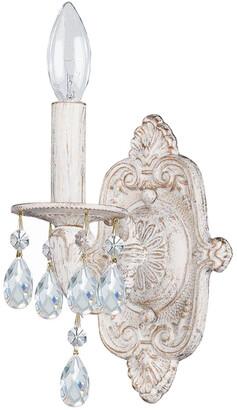 Crystorama Paris Market 1-Light Antique White Crystal Sconce