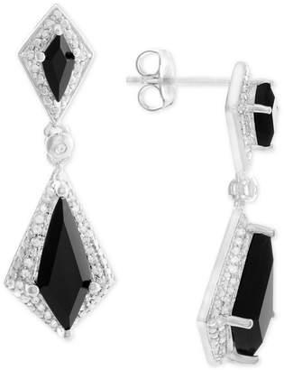 Macy's Onyx (6 x 2-1/2mm, 13 x 5mm) and Diamond (1/8 ct. t.w.) Drop Earrings in Sterling Silver
