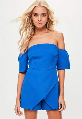 a112121d6034 ... Missguided Blue Bardot Skort Playsuit