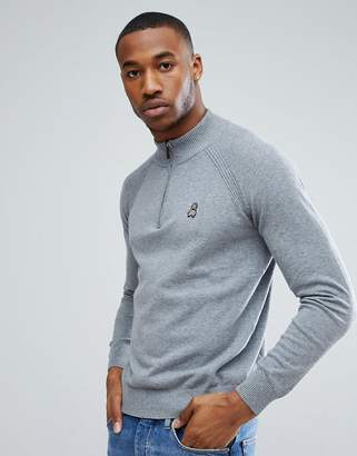 Psycho Bunny 1/4 Zip Sweater Cotton Knit in Gray Marl