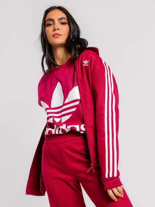 adidas Adicolor Big Trefoil Knit T-Shirt in Mystery Ruby