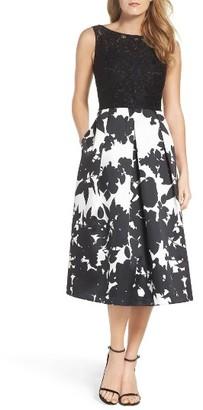Women's Ellen Tracy Lace & Floral Faille Midi Dress $188 thestylecure.com