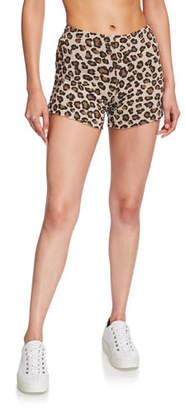 Monrow Leopard-Print Elastic Waist Shorts