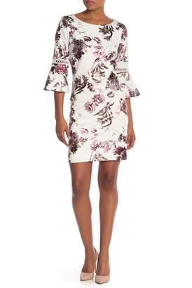98b45fad61 Sandra Darren Rose Print Bell Sleeve Shift Dress