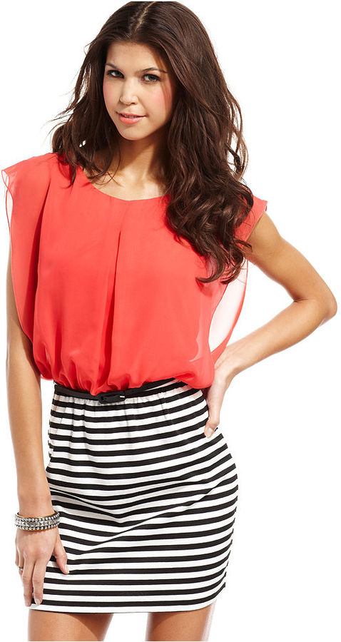 Speechless Juniors Dress, Short Sleeve Belted Striped Chiffon