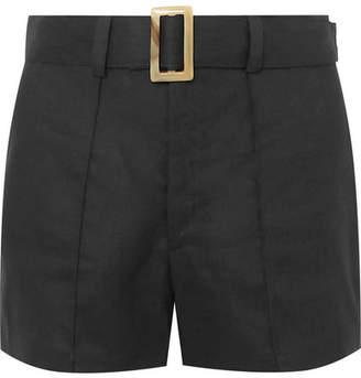 Lisa Marie Fernandez Belted Linen Shorts - Black