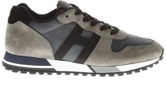 Hogan H383 Beige Leather & Nylon Sneakers