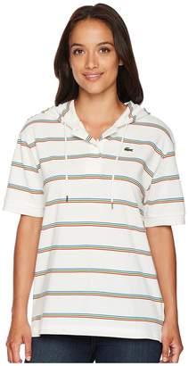 Lacoste Short Sleeve Pique Rainbow Stripes Polo Women's Short Sleeve Pullover