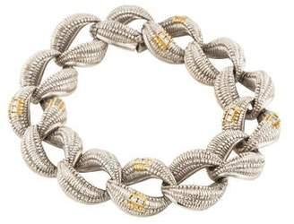Judith Ripka Diamond Oval Textured Link Bracelet