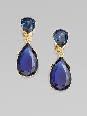 Kenneth Jay Lane Crystal Teardrop Earrings/Blue