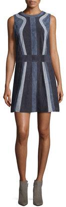 Parker Mellie Paneled Suede Shift Dress $446 thestylecure.com