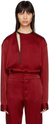 Haider Ackermann Red Satin Binding Detail Shirt